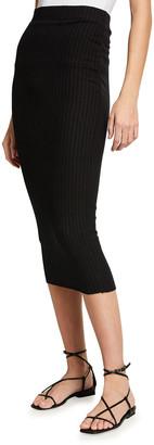 Enza Costa Sweater Rib-Knit Midi Skirt