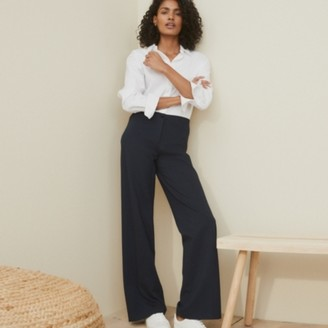 The White Company Pinstripe Jersey Straight-Leg Trousers, Navy, 14
