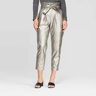 Who What Wear Women's Mid-Rise Relaxed Fit Paperbag Pants - Who What WearTM Silver
