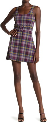 Planet Gold Plaid Sleeveless Belted Mini Dress