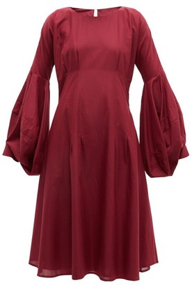 Merlette New York Darted Cotton Dress - Burgundy