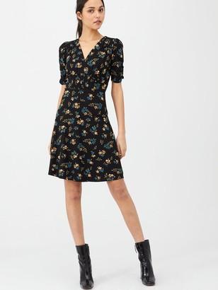 Very Shirred Detail Dress - Black