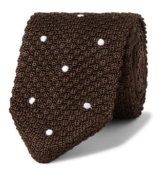 Beams 7cm Polka-Dot Knitted Silk Tie