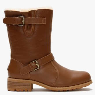 Australia Luxe Collective Easy Rider Tan Leather Double-Face Sheepskin Ankle Boots