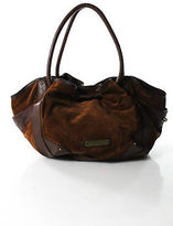 Cole Haan Brown Suede Leather Woven Strap Hobo Handbag