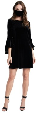 MSK Velvet Bell-Sleeve Shift Dress & Face Mask