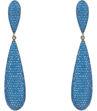 Latelita Coco Long Drop Earrings Oxidised Sapphire Blue Cz