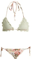 Zimmermann Aerial crochet and floral-print bikini