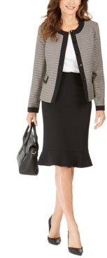 Le Suit Tweed-Jacket Flared-Hem Skirt Suit