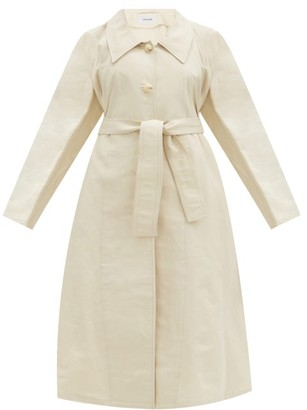 Lemaire Belted Cotton-blend Canvas Coat - Ivory