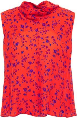 McQ Cutout Draped Floral-print Silk Crepe De Chine Top
