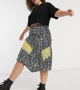 Lost Ink plus midi skirt with contrast lace trim in ditsy floral print