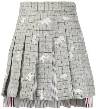 Thom Browne Embroidered-Animal Pleated Skirt