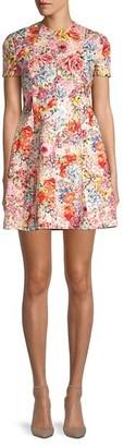 Valentino Floral Virgin Wool Silk Fit--Flare Dress