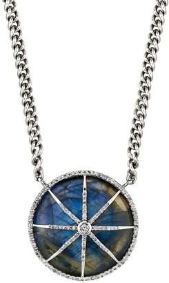 Sheryl Lowe Labradorite Circle Star Curb Chain Necklace