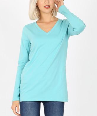 Ash Zenana Women's Tee Shirts  Mint Long-Sleeve V-Neck Tee - Women & Plus
