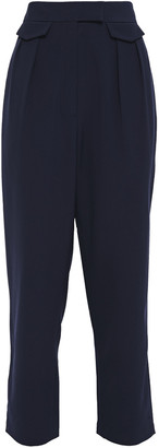 Iris & Ink Cecilia Cropped Pleated Crepe Tapered Pants