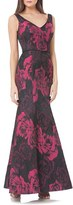 JS Collections Women's Stretch Jacquard Gown