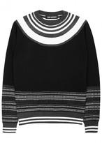 Neil Barrett Black Fair Isle Fine-knit Wool Jumper