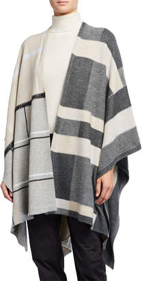 Lafayette 148 New York Plaid Patchwork Wool-Blend Wrap