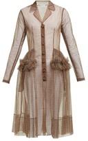 Molly Goddard Tiffany Gingham Tulle Shirtdress - Womens - Brown