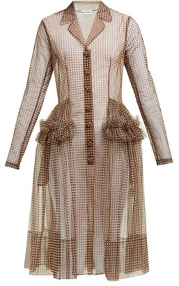 Molly Goddard Tiffany Gingham Tulle Shirtdress - Womens - Brown