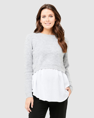Ripe Maternity Women's Grey Jumpers - Mandy Detachable Knit - Size One Size, XS at The Iconic