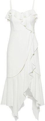 Jonathan Simkhai Asymmetric Ruffled Stretch-crepe Midi Dress
