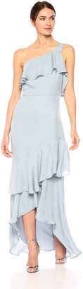Parker Women's Black Sharon One Shoulder Ruffle High Low Silk Dress