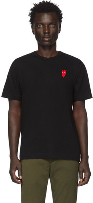 Comme des Garcons Black and Red Long Heart Patch T-Shirt