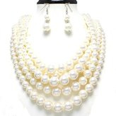 Affordable Wedding Jewelry Simple Statement Layered Strands Cream Pearl Beads Silver Chain Necklace Earrings Set Bridesmaid Gift