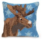 Liora Manné Frontporch Moose and Snowflake Square Indoor/Outdoor Throw Pillow in Blue
