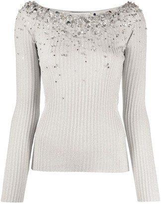Valentino Crystal-Embellished Long-Sleeve Top