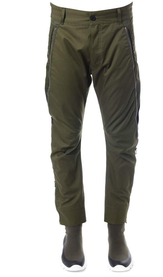 Diesel Black Gold Green Cotton Pants With Zippers