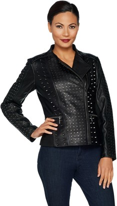 Halston H by Lamb Leather Studded Motorcycle Jacket