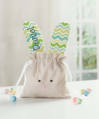 Personalized Planet Handbags - Green Chevron Personalized Linen Bunny Drawstring Bag