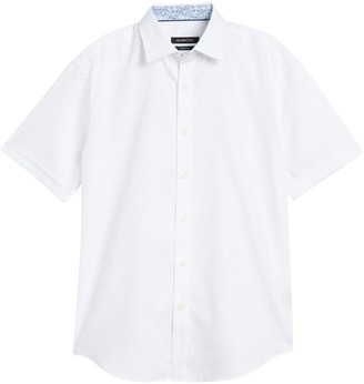 Bugatchi Shaped Fit Short Sleeve Button-Down Shirt