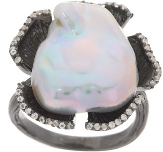 Honora Blackened Flower Pearl Ring, Sterling Silver