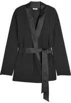 Eres Betty Satin-trimmed Silk-chiffon Wrap Pajama Top - Black