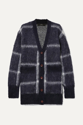 J.Crew Lian Checked Brushed Knitted Cardigan - Navy
