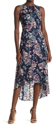 Vince Camuto Floral Chiffon Midi High Lo Dress