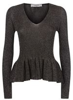 Lanvin Lurex V-Neck Peplum Sweater