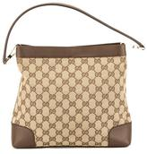 Gucci Brown Leather GG Monogram Canvas sima Bag