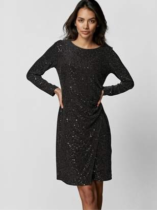 Wallis Petite Cosmic Sequin Ruche Side Dress - Black Silver