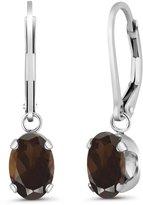 Gem Stone King 2.40 Ct Oval Smoky Quartz 925 Sterling Silver Earrings