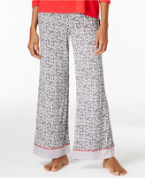 Ellen Tracy Contrast-Trimmed Pajama Pants