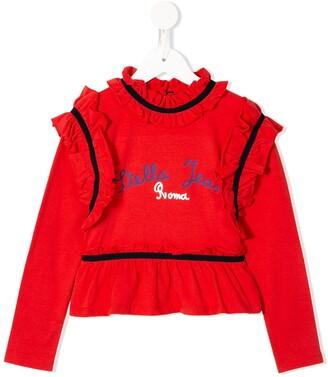 Stella Jean Kids ruffle detail logo print T-shirt