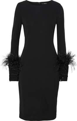 Badgley Mischka Feather-trimmed Embellished Cady Dress