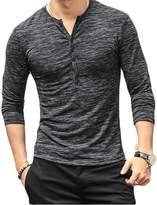 Faithtur Mens Casual Slim Fit Raglan Baseball Three-Quarter Sleeve Henley T-Shirts