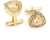 RevoLity Bling Bling Rare Artificial Diamond Cufflinks Cuff Links Wedding Suit Shirt Cufflinks (Gold Triangle)